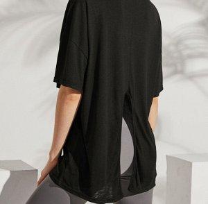 """Женская спортивная футболка с разрезом, надпись""""gym star"""", цвет черный"""