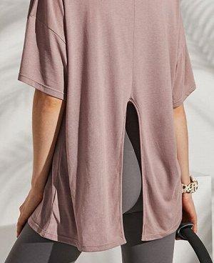 """Женская спортивная футболка с разрезом, надпись""""gym star"""", цвет розовый"""