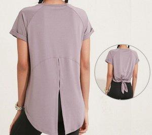Женская спортивная футболка с разрезом на спине, цвет сиреневый
