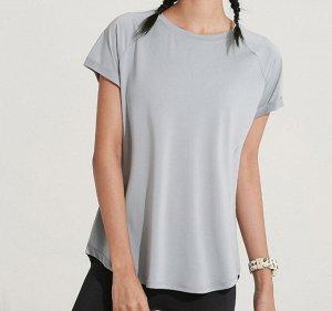 Женская спортивная футболка с разрезом на спине, цвет голубой