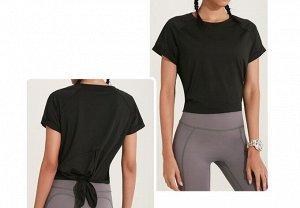 Женская спортивная футболка с разрезом на спине, цвет черный