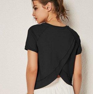 Женская спортивная футболка с сетчатой окантовкой, цвет черный