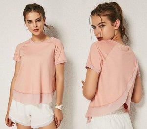 Женская спортивная футболка с сетчатой окантовкой, цвет розовый