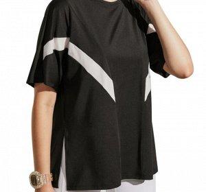 Женская спортивная футболка с полосками/разрезом, цвет черный