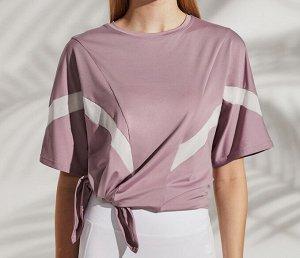 Женская спортивная футболка с полосками/разрезом, цвет розовый