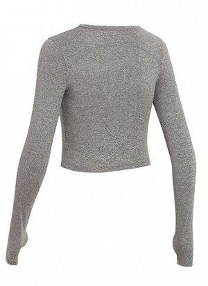 Женская спортивная кофта с вырезами, цвет серый