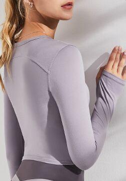 Женская спортивная кофта с вырезами, цвет сиреневый