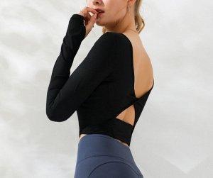 Женская спортивная укороченная кофта с вырезами, цвет черный