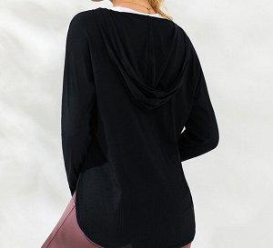 Женская спортивная кофта с капюшоном, цвет черный
