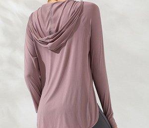 Женская спортивная кофта с капюшоном, цвет розовый