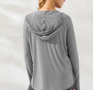 Женская спортивная кофта с капюшоном, цвет серый