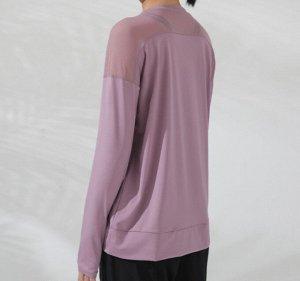 Женская спортивная кофта с сетчатой вставкой, цвет розовый