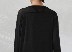 Женская спортивная кофта с сетчатой вставкой, цвет черный