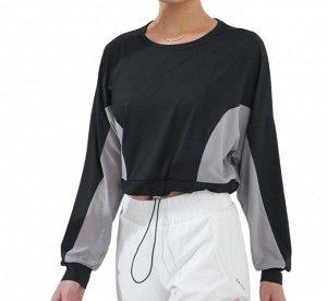 Женская спортивная укороченная кофта с утяжкой, сетчатые вставки, цвет черный/серый