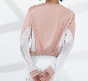 Женская спортивная укороченная кофта с утяжкой, сетчатые вставки, цвет розовый/белый