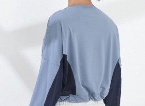 Женская спортивная укороченная кофта с утяжкой, сетчатые вставки, цвет голубой/темно-синий