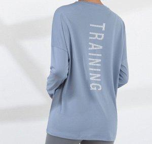 """Женская спортивная кофта, надпись""""training"""", цвет голубой"""