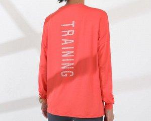 """Женская спортивная кофта, надпись""""training"""", цвет коралловый"""