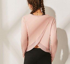 Женская спортивная кофта с сетчатой окантовкой, цвет персик