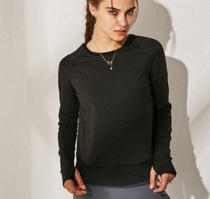 Женская спортивная кофта с сетчатой окантовкой, цвет черный