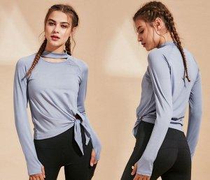 Женская спортивная кофта с разрезами, цвет голубой