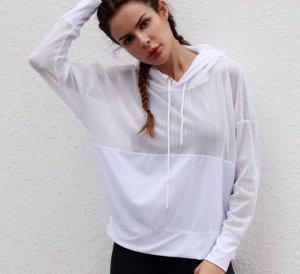 Женская спортивное худи с сетчатыми вставками, цвет белый