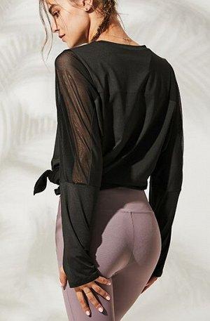 Женская спортивная кофта с разрезом/сетчатые вставки, цвет черный