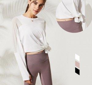 Женская спортивная кофта с разрезом/сетчатые вставки, цвет белый