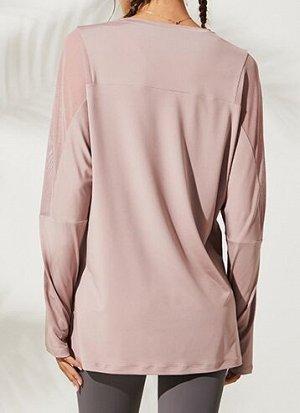 Женская спортивная кофта с разрезом/сетчатые вставки, цвет розовый
