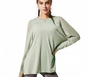 Женская спортивная кофта с разрезом/сетчатые вставки, цвет мятный