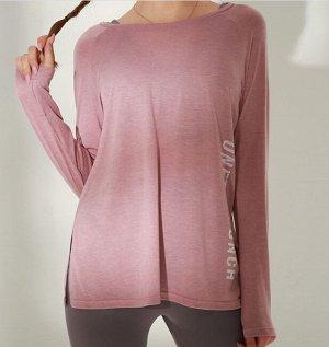 """Женская спортивная кофта с разрезом, надпись""""onetwopunch"""", цвет розовый"""