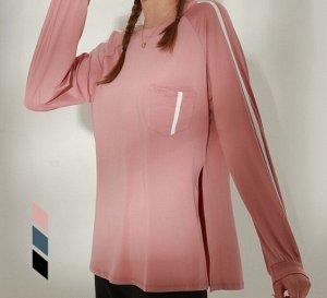 Женская спортивная кофта с разрезами, декор лампасы, цвет розовый