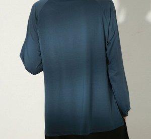 Женская спортивная кофта с разрезами, декор лампасы, цвет синий