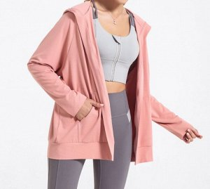 Женская спортивная толстовка с капюшоном/поясом, цвет розовый