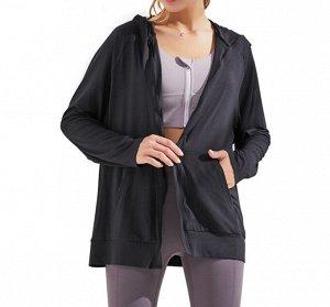 Женская спортивная толстовка с капюшоном/поясом, цвет черный