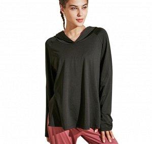 Женская спортивная кофта с капюшоном и разрезами, цвет черный