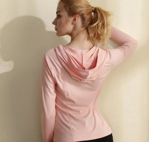 Женская спортивная кофта с капюшоном, цвет розовая