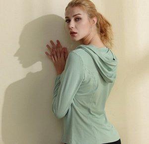 Женская спортивная кофта с капюшоном, цвет мятный