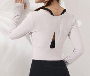 Женская спортивная укороченная кофта с v-образным вырезом, цвет белый