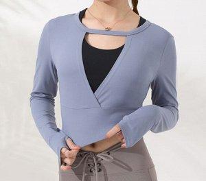 Женская спортивная укороченная кофта с v-образным вырезом, цвет голубой