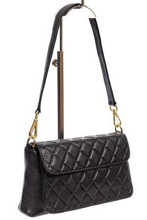 Стёганая маленькая сумочка из натуральной кожи, цвет чёрный