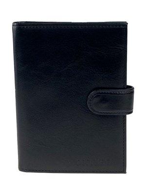 Обложка для паспорта и автодокументов из натуральной кожи, чёрная