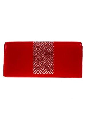 Женский кошелёк-портмоне со стразами, красный