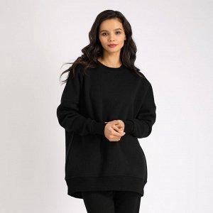 Толстовка Черный,  Удлиненная женская куртка, свободного кроя. Состав: 92% Cotton, 8% Elastane French terry с/н