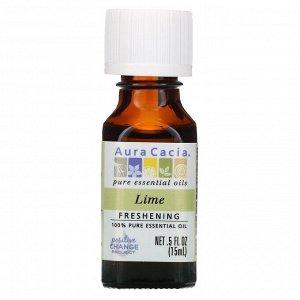 Aura Cacia, 100% чистое эфирное масло, лайм, 15 мл (0,5 жидк. унции)