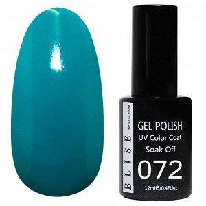 Гель-лак BLISE 072- Бирюзово-синий,плотный