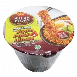 Лапша быстрого приготовления со вкусом курицы в остром лимонном соусе mi abc (стакан), индонезия, 80 г