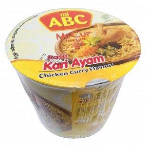 Лапша быстрого приготовления со вкусом курицы карри mi abc (стакан), индонезия, 60 г