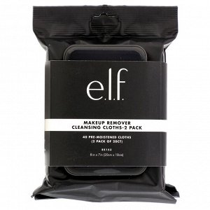 E.L.F., Makeup Remover Cleansing Cloths, 2 Pack, 20 Pre-Moistened Cloths Each