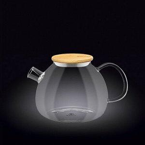 WILMAX Thermo Glass Заварочный чайник с деревянной крышкой 1000мл WL?888823/A